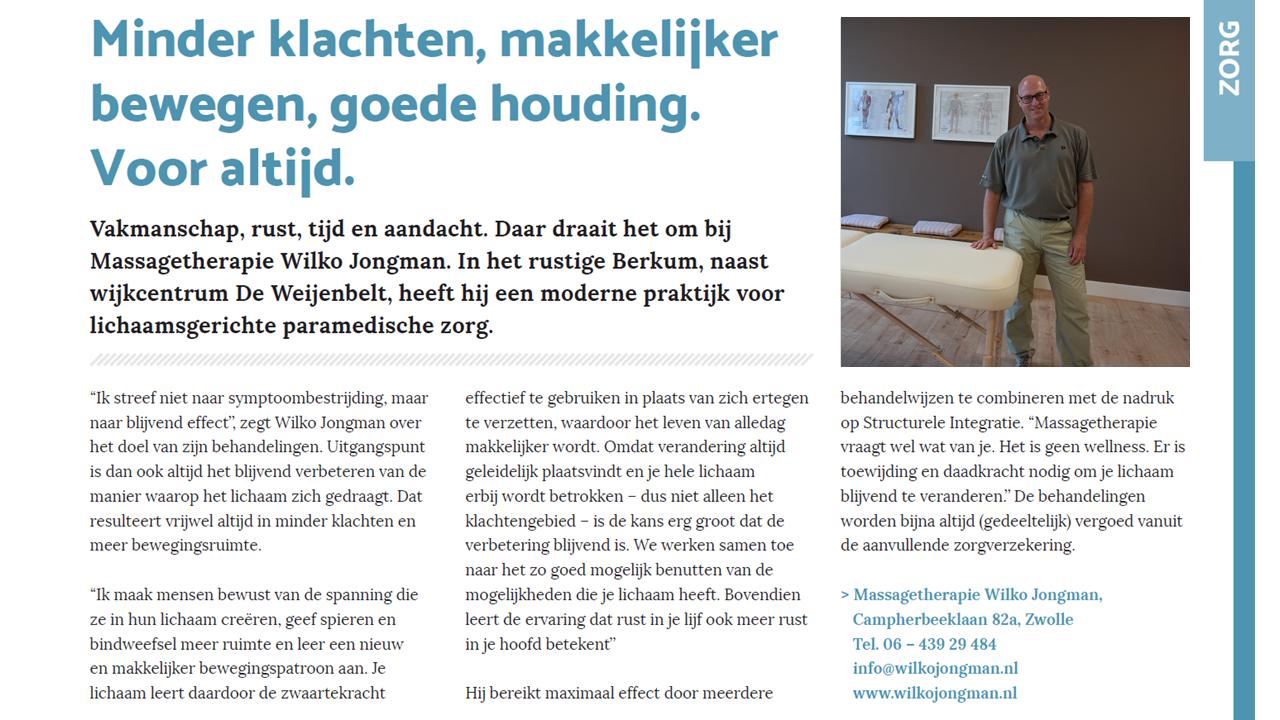 Massagetherapie Wilko Jongman in Stadshagen Nieuws september 2017